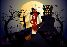 Beautiful Witch and Castle Stock Images