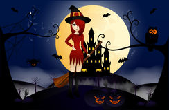 Beautiful Witch and Castle Stock Photography