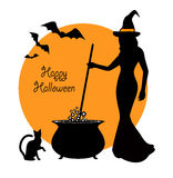 Beautiful witch and cauldron Royalty Free Stock Images