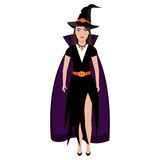 Beautiful witch costume with dress Stock Photos