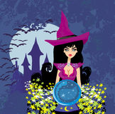 Beautiful witch with crystal ball. Stock Photos