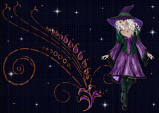 Beautiful Witch with Decorated Background Royalty Free Stock Photo