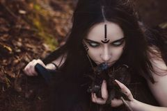 Beautiful girl witch conjures in the woods. Royalty Free Stock Photo