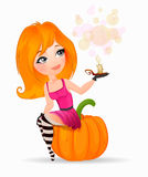 Beautiful witch girl sitting on a pumpkin, holding a candle in her hand. White background. Happy Halloween, vector illustration Stock Image