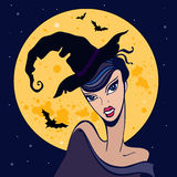 Beautiful witch. Halloween illustration. Stock Photos