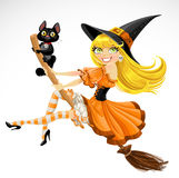 Beautiful witch and her black cat familiar flying  Stock Photography