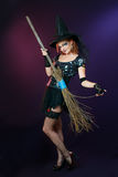 Beautiful witch hold broom Royalty Free Stock Image