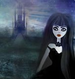 Beautiful witch and hounted house. Raster illustration Royalty Free Stock Photos