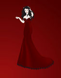 Beautiful witch. Witch with long black hair in a red dress style the mermaid Stock Image