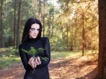 Beautiful witch in  mystic forest Stock Photos