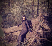 Beautiful witch posing in  mystic forest Stock Photos