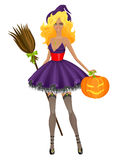 Beautiful witch with pumpkin. Vector illustration Royalty Free Stock Photos