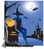Beautiful witch with pumpkin in graveyard. stock illustration