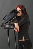 Beautiful witch with raven Stock Photos