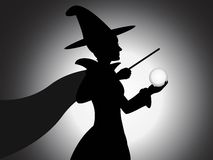 Beautiful Witch Silhouette - Illustration Royalty Free Stock Image