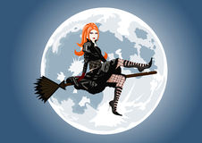 Beautiful witch sitting on broom Stock Images