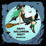 Beautiful witch sitting on the broom Royalty Free Stock Photography