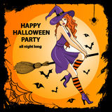 Beautiful witch sitting on the broom Royalty Free Stock Images