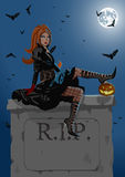 Beautiful witch sitting on the tombstone. High detalisation Royalty Free Stock Images