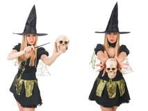 The beautiful witch with skull isolated on white Royalty Free Stock Photography