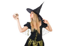 Beautiful witch with skull isolated on white Royalty Free Stock Photography
