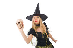Beautiful witch with skull isolated on white Stock Photos