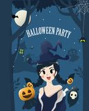 Witch cute girl in halloween night. vector illustration