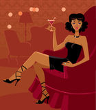 Beautiful woman. The beautiful woman in the room with a cocktail,  illustration Stock Photography