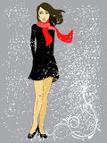 Beautiful woman. Vector illustration of a woman Stock Photos