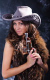 Beautiful  woman. Portrait of the beautiful young woman in a hat Royalty Free Stock Photo