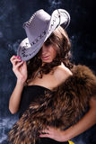 Beautiful woman. Portrait of the beautiful young woman in a hat Royalty Free Stock Images