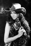Beautiful  woman. Portrait of the beautiful young woman in a hat. black-and-white image Royalty Free Stock Photos