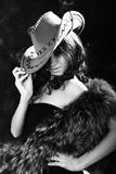 Beautiful woman. Portrait of the beautiful young woman in a hat. black-and-white image Royalty Free Stock Images