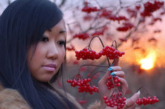 Beautiful woman. Look on berry stock images