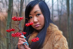 Beautiful woman. Look on berry Stock Photos