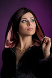 Beautiful woman. Woman in a fur coat Royalty Free Stock Photography