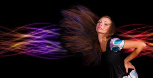 Beautiful woman. Attractive young woman dancing, hair flying Stock Images