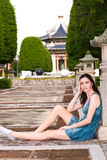 Beautiful woman. A beautiful woman is take a rest in chinese park Royalty Free Stock Image
