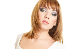 Beautiful woman. Portrait of attractive red haired young woman Royalty Free Stock Photos