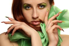 Beautiful woman. Girl with colorful makeup and beautiful nails Stock Images