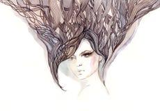 Beautiful woman. With ornate hair (Cbm painting Stock Photos