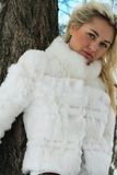 Beautiful woman. In winter fur coat Stock Photography