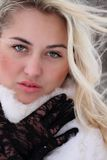 Beautiful woman. In winter fur coat Royalty Free Stock Images