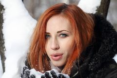 Beautiful woman. In winter  in coat Stock Photo