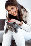 Beautiful woman. With cute cat Royalty Free Stock Photography