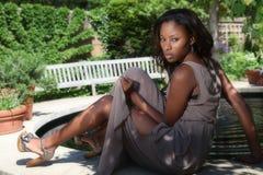 Beautiful Woman. Beautiful African American woman in the garden Stock Photos