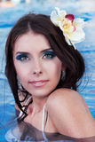 Beautiful Woman. Portrait of a beautiful girl in the pool Royalty Free Stock Image