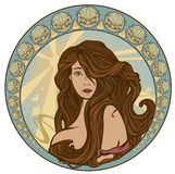 Beautiful woman. Art nouveau style woman portrait with long hair - girl in ornate circle with sun rays and butterflies Stock Photo