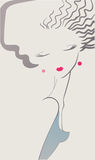Beautiful woman. Retro portrait vector illustration Royalty Free Stock Image