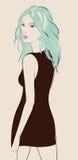 Beautiful woman. In black dress vector illustration vector illustration